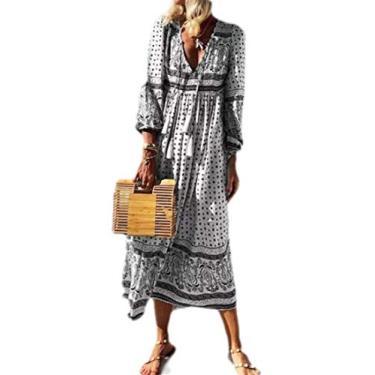 Vestido de praia feminino sexy com decote V profundo e manga comprida UUUYUK, Cinza, Medium