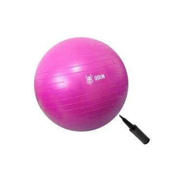 Bola Yoga Suiça Pilates Abdominal Gym Ball 75cm Bomba Grátis Rosa Odin Fit