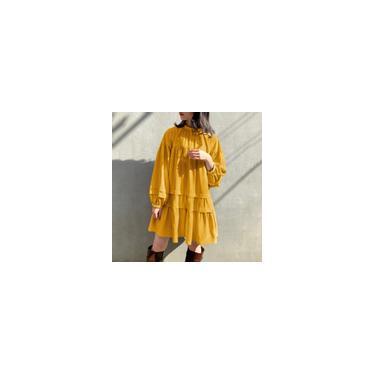 Vonda 3 Cores Mulheres Férias Decote Redondo Manga Longa Vestidos Midi Casual Cor Sólida Vestido Plissado S-5XL Amarelo M