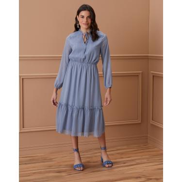 vestido midi chiffon com lurex detalhe amarração Feminino AMARO AZUL MÉDIO GG