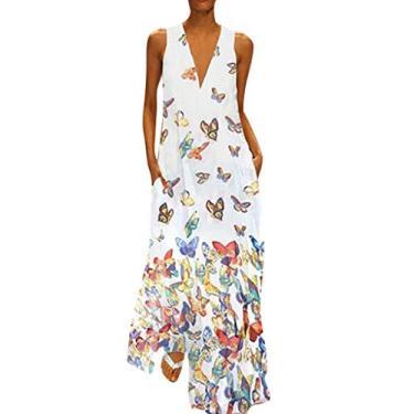 Clopon vestido longo maxi feminino sem mangas frente única plus size vestido de linho de algodão com estampa floral, G White, Small