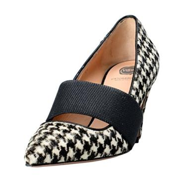 Sapato feminino Viktor & Rolf Pony Hair de couro bico fino, Multi-color, 9