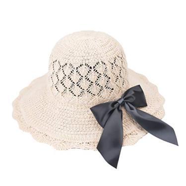 SOIMISS chapéu de praia dobrável chapéu respirável chapéu de palha de palha do sol chapéu protetor sol-resistente ao sol para mulheres meninas (bege)