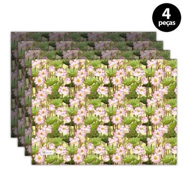Imagem de Jogo Americano Mdecore Floral 40x28 cm Verde 4pçs