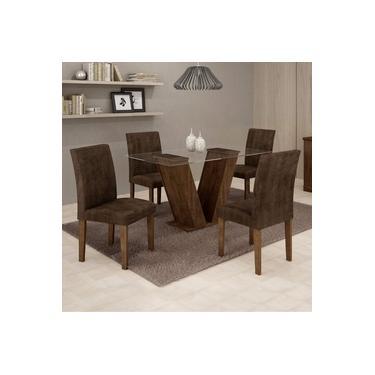 Conjunto Sala de Jantar Mesa Tampo de Vidro e 4 Cadeiras Classic Cel Móveis Chocolate/Animale Marrom 52