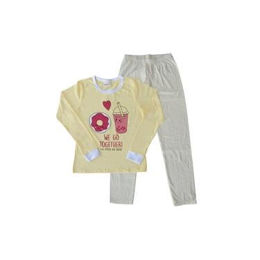 Pijama Infantil Menina Manga Longa Rosquinha Amarelo Claro e Calça Bolinhas