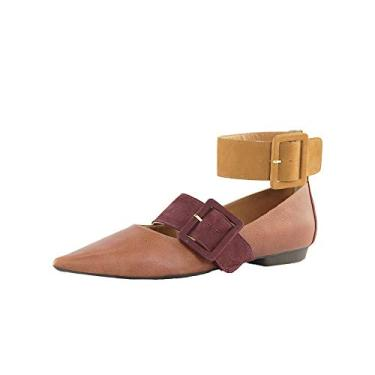 Sapatilha SHEPZ com tira ajustável nos tornozelos fivelas marrom