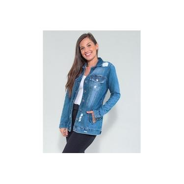 Jaqueta Maxi Jeans Destroyed Revanche Feminina Azul Ambroise
