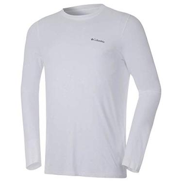 Camiseta Columbia Neblina Manga Longa Masculina - Branca P
