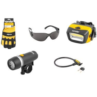 Kit Ciclista 5 Peças com Luva, Óculos, Cadeado, Lanterna para Bicicleta e Lanterna para Capacete Preto