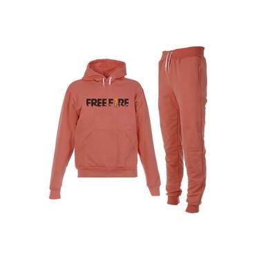Conjunto Moletom Free Fire Infantil Juvenil Peluciado Coral
