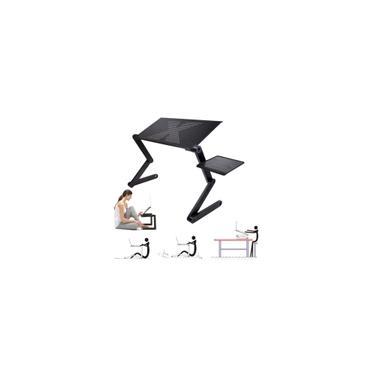 Imagem de Mesa de laptop dobrável ajustável mesa de notebook suporte bandeja com ventilado portátil para cama tapete gramado carro (cor: preto)
