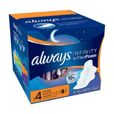 Always Infinity Noturno Absorvente Intimo Com Abas - 14 Unidades