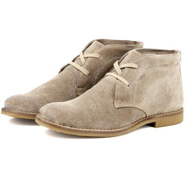 Bota Desert Boots Escrete Em couro Camurça  Creme  masculino