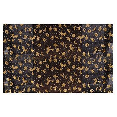Imagem de SOIMISS 1 peça toalha de mesa com tema de Halloween toalha de mesa decorada para mesa (preto dourado)