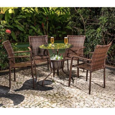 Conjunto Mesa com 4 Cadeiras Alice - Alegro - Castanho