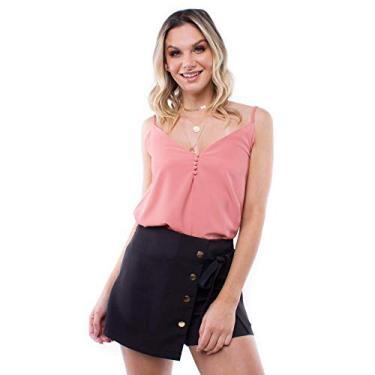 Blusa Crepe Alça Botões Pop Me-rose-gg