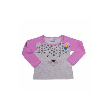 Camiseta Manga Longa Cinza E Rosa Estampado Menina Fakini