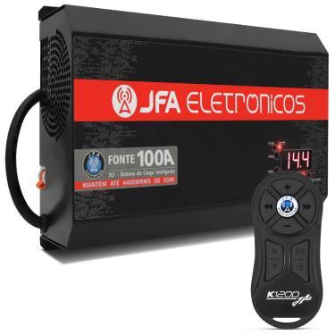 Fonte Automotiva JFA 100 Amperes 1500W Rms Bivolt + Controle Longa Distância K1200 1200 Metros Preto