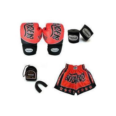 Kit Boxe- Luva Bandagem Bucal - Tailandês Vermelho 12 oz