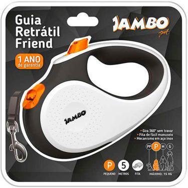 Guia Retratil Jambo Friend Branca - Tam. P
