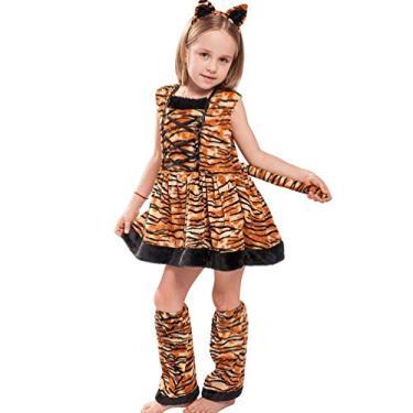 Imagem de TOYANDONA Fantasia de tigre para crianças, faixa de cabeça, roupas para meninas, cosplay, festa, acessórios de Halloween, 1 conjunto marrom (tamanho M/5-6 anos)