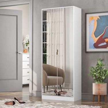 Sapateira com Espelho 2 Portas 01 Gaveta Grife Demóbile Branca