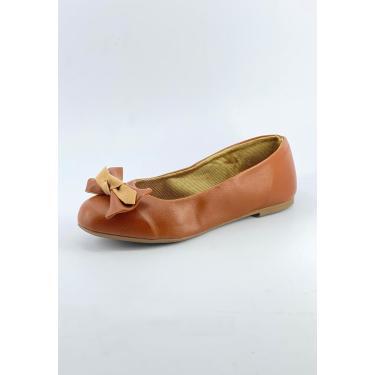 Sapatilha Bico Redondo Michelle Calçados Femininos Caramelo Enfeite Laço Manual  feminino