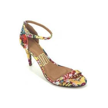 Sandália Feminina Floral De Tira Salto Alto Uza Shoes 107014745813