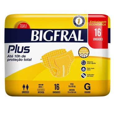 Fralda Geriátrica Bigfral Plus Tamanho G 16 Tiras