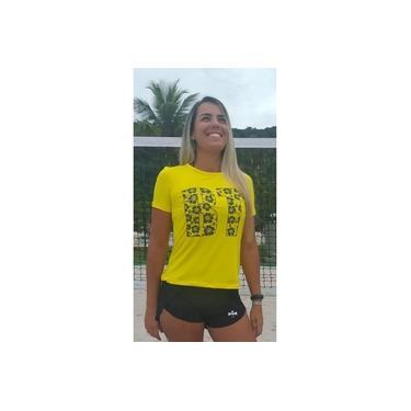 Camiseta Beach Tennis Manga Curta Feminina Proteção Uv50 BT Floral