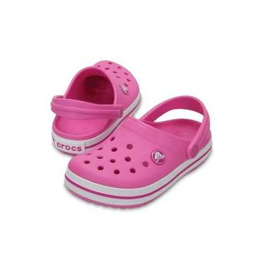 Sandália Crocs Infantil Crocband Clog - Branco e Rosa