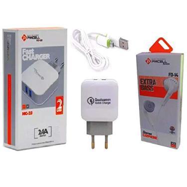 Kit Carregador Original Pmcell + Fone de Ouvido Para Iphone 5 6 8 Plus