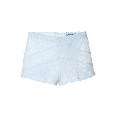 Short Recortes Renda Off White