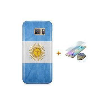 Kit Capa Case TPU Galaxy S7 Edge Bandeira Argentina + Pel Vidro (BD30)