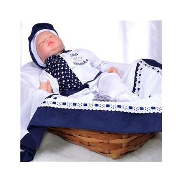 Saída Maternidade Para Meninos Meu Reizinho 5 Peças 100% Algodão