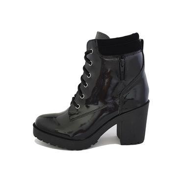 Bota Coturno Militar Motociclista Feminina Top Franca Shoes Preto Verniz