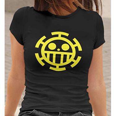 Camiseta Baby Look One Piece Trafalgar Law Feminino Preto Tamanho:GG