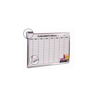 Imagem de Quadro Branco Planejamento Semanal - 60 X 90 - Moldura De Aluminio - Cortiarte