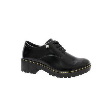 Sapato Oxford Feminino Preto Verniz Quiz