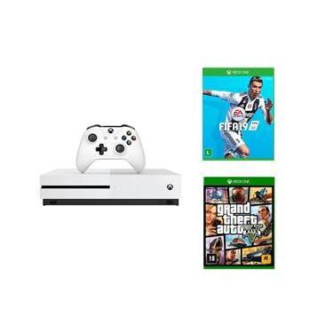 Console Xbox One S 1TB Branco + Fifa 19 + Jogo Grand Theft Auto V