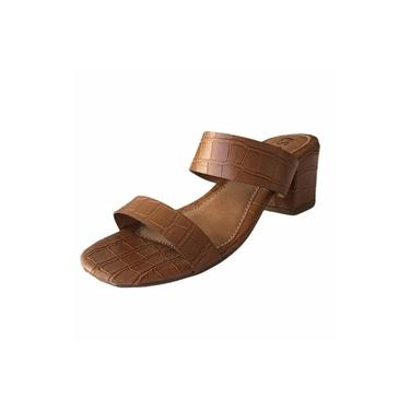 Sandália Mule 2 Tiras Croco Caramelo CS Shoes