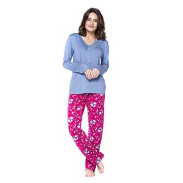 Pijama Feminino Viscolycra Floral Com Renda Podiun - 5112 (M)