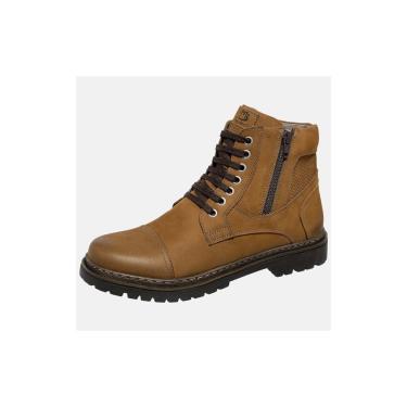 Bota Coturno Em Couro Mega Boots Taupe  masculino