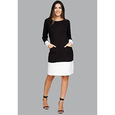 Imagem de Vestido Curto Malha Manga Longa Preto e Branco - P - Veste do 38 ao 40