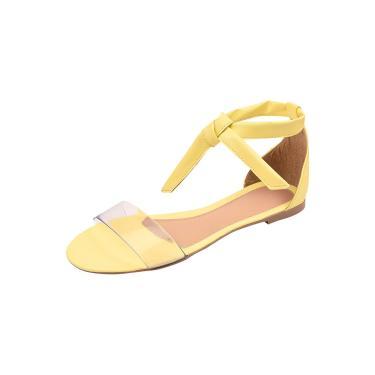Imagem de Sandália Feminina Flatform Dunah Sapato Confort Amarelo  feminino