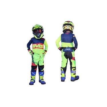 Kit Roupa Ims Army Fluor Calça Camisa Infantil Motocross