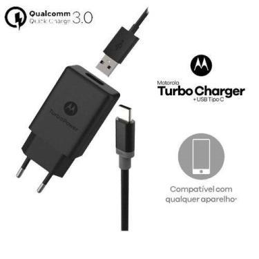 Carregador Motorola Moto Z Play Turbo Tipo C Cabo Conjugado Original