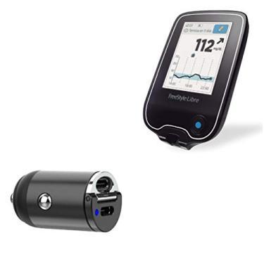 Freestyle Libre Reader Carregador de carro, BoxWave [Mini Carregador de Carro Dual PD] Rápido, 2 Carregadores USB para Leitor Livre, Preto