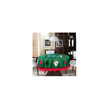 Imagem de Toalha de Mesa Redondo Naipes Cassino Teka 160 x 160 cm
